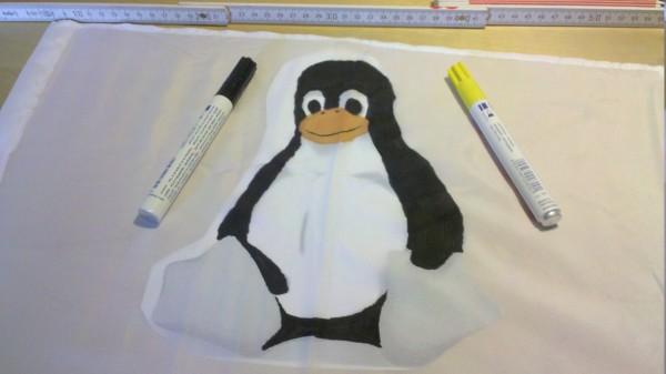 Linux Tux Autofahne Schritt 2